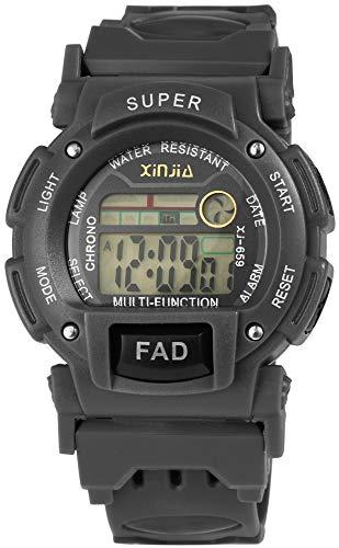 Xinjia Reloj de pulsera digital para hombre, color gris, cuarzo, silicona, alarma, luz, cronómetro, fecha, reloj de pulsera