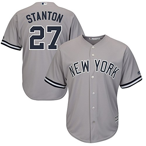 Majestic Men's New York Yankees Giancarlo Stanton Gray Cool Base Replica Player Jersey Size XLarge