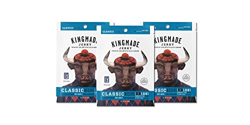 Kingmade Beef Jerky Classic Premium Grass Fed Flank Steak Cuts, Gluten Free, Low Sugar & Low Sodium, No MSG Added, Natural Protein Snacks with No Nitrates & Nitrites (3 Pack)