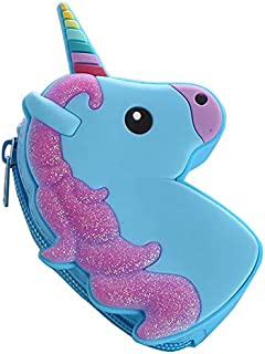 1-Pack Unicorn Purse - Cute Silicone Key Coin Tray Change Wallet Bag Pouch Case with Zipper Closure (Blue)