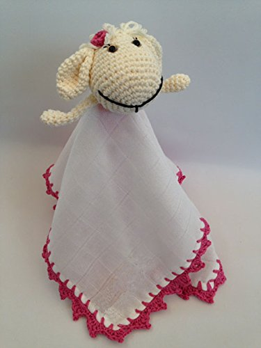 Trapito de apego Doudou Ovejita Rosa para bebés . Hecho a mano. Un regalo original para recién nacido.