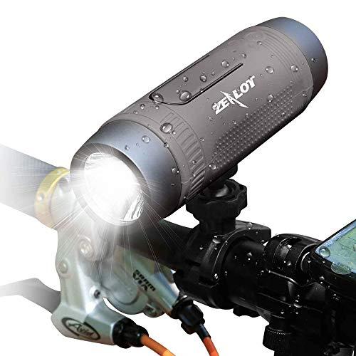 Bluetooth Lautsprecher, Zealot Portable Bluetooth Speaker mit LED Taschenlampe, Wasserdicht, Power Bank, Freisprechfunktion für Fahrrad, Reise (Grau)