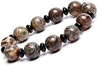 Feng Shui Reichtum Armband, Natürliche Amulettgrün Tibetisch 3 Auge Dzi Perlen (12Mm) Armband Reichtum Armband Positive Energie Und Viel Glück