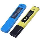 Iycorish 2Pcs Digital 0.0-14.0 PH Meter Tester 0-9990Ppm Digital TDS EC LCD Water