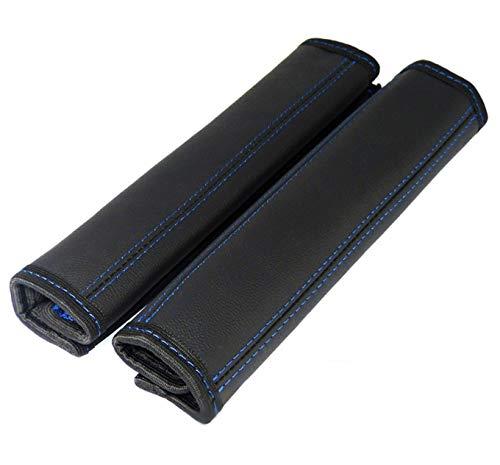 L & P Car Design GmbH 2 stuks riembeschermers riembekleding schouderkussen echt leer echt leer schouderbeschermers beschermer kussen riem schouder 2 Stück Schwarz mit dunkelblauer Naht