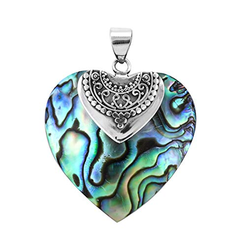925 Sterling Silver Fancy Abalone Shell Love Heart Valentines Pendant Mothers Day Gifts for Women