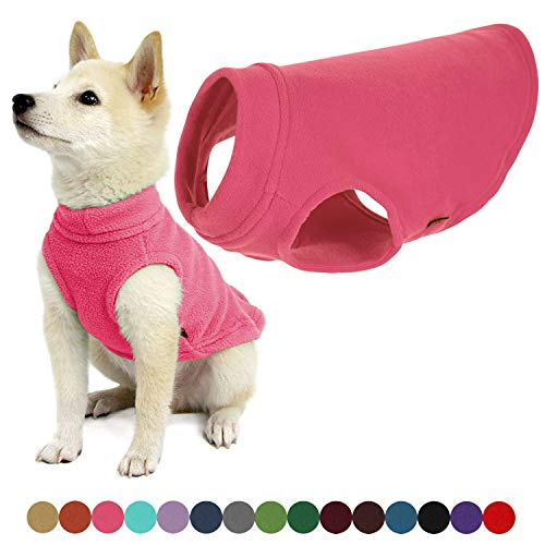 Gooby Stretch Fleece Dog Vest - Pink, Medium - Pullover Fleece Dog Sweater - Warm Dog Jacket Winter Dog Clothes Sweater Vest - Dog Sweaters for Small Dogs to Large Dogs for Indoor and Outdoor Use