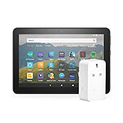 This bundle contains the Fire HD 8 (Black, 32 GB) tablet and Amazon Smart Plug. Longer battery life for your tablet — up to 12 hours of reading, browsing the web, watching video, and listening to music. Quickly access and control compatible smart hom...