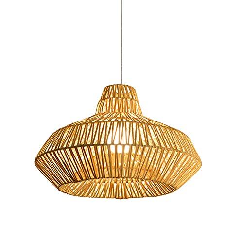 SHUANF Linterna de bambú Moderna Lámpara de Techo de ratán Tejida a Mano Lámparas Colgantes Vintage rústicas Retro E27 para Restaurante, salón de té, Dormitorio, Sala de Estar, café, candelabro Decor