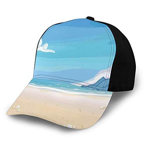 Trucker Caps Baseball Cap verstellbar,Paradise Beach by The Ocean Coastal Charm with Sea Shells and Starfish Image, Cap Baseball Snapback Summer