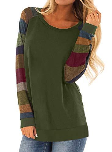 HARHAY Women's Cotton Knitted Long Sleeve Lightweight Tunic Sweatshirt Tops Multiple Army Green XL/US10-12