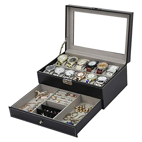 PU Leather Watch Box Watch Case Organizer Case Jewelry Box Display Case, Drawer Glass Top Earrings for Men Women Black 12x8x5 inch