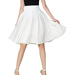 ASHERANGEL シフォンスカート フレアスカート レディース サーキュラースカート 無地 Aライン 膝丈 ハイウェスト チャック付き ボリューム ふんわり 大人 可愛い 台形スカート 学生 通勤 ホワイト XL