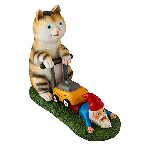 Holidayana Lawn Mower Cat Gnome Figurine Cat Mowing Gnomes Statue, Anti-Gnome Society, Outdoor or Indoor Decoration