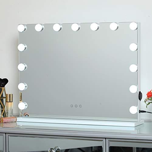 DAYU Espejo de Maquillaje con Luces LED para Tocador, Cosmético Grande con Luz Hollywood con 15 Bombillas LED Regulables para Tocador, Múltiples Modos de Color