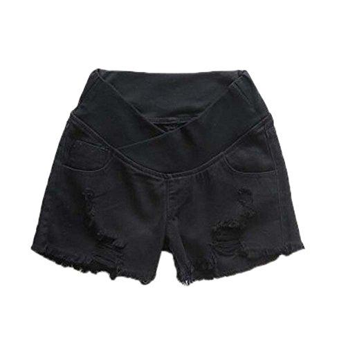 Pantalones Cortos de Maternidad de Verano de Mezclilla Casual - Soild Color Abdomen de enfermería Agujeros Rotos Pantalones Cortos Finos