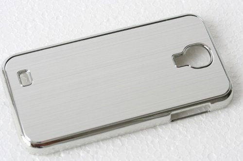 Unbekannt Cover Housse de Protection Luxueuse de Terminal pour Samsung Galaxy S4 i9500 de téléphone Portable de téléphone Portable de Cas Cas Métal Chrome en Aluminium brossé Argent étui Rigide de