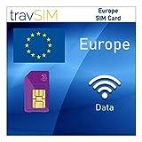 travSIM - Tarjeta SIM Europea (Tarjeta SIM Three UK para Europa) Válida por 120 Días - Datos Móviles de 12GB - Alemania Austria Italia Francia Suiza Eslovaquia Suecia Europa UK Three Tarjetas SIM