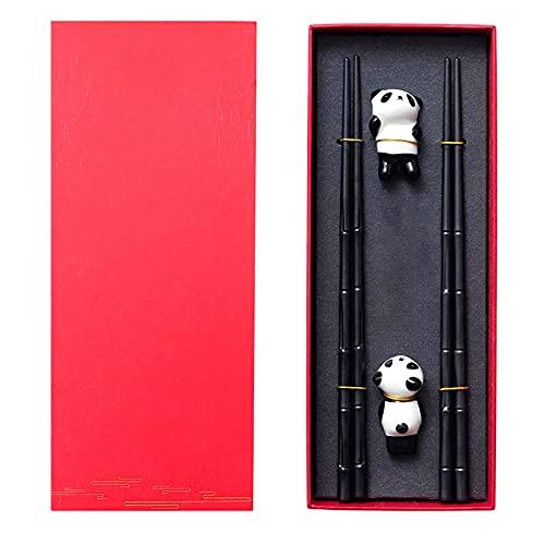 solawill Palillos Chinos 2 Pares de bastidores de Almuerzo de Aleació,Estilo Chino Panda Palillos Set Reutilizables Juego de Regalo Chino Juego de Palillos Soporte de Cerámica para Palillos de Panda