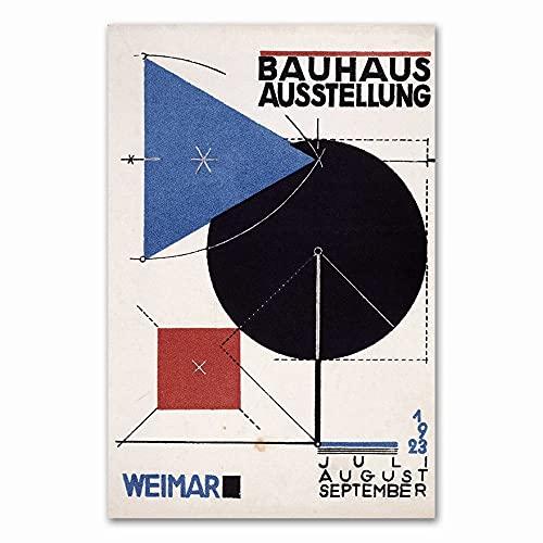 Carteles e impresiones Bauhaus Ausstellung 1923 Weimer exposición cartel cuadro de arte de pared familia sin marco lienzo pintura P 70x100cm