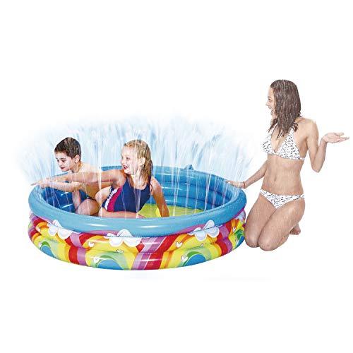 Invero Kinder Outdoor Garten Fun Regenbogen Spray Brunnen Planschbecken – Wassersprüher Verbindung mit Schlauch – Durchmesser 150 x Höhe 30 cm (290 Liter, 75% gefüllt)