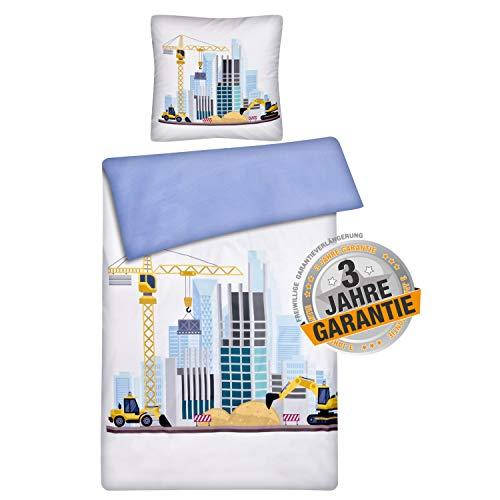 Aminata Kids Kinderbettwäsche Bagger-Motiv 135- x-200 cm + 80-x-80 cm Baustelle Kinder-Jugend-Bettwäsche-Set für Jungen & Jugendliche, aus Baumwolle mit Reißverschluss, weiß mit Betonmischer