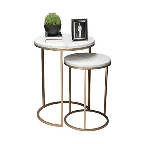 Mesas de centro redondas modernas de mármol blanco, Mesas d