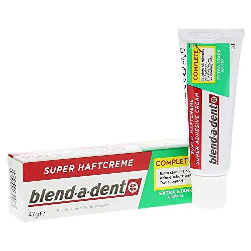 Blend-a-dent Super Haftcreme extra strak Spar-Set 4x47g. Bietet Krümelschutz und Tragecomfort. Neutraler Geschmack. Für Voll- und Teilprothesen.