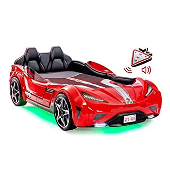 Cilek Twin Size Kids Race Car Bed Frame Remote Controlled LED Headlights Engine Sound Upholstered Headboard Interior Padding License Plate Red