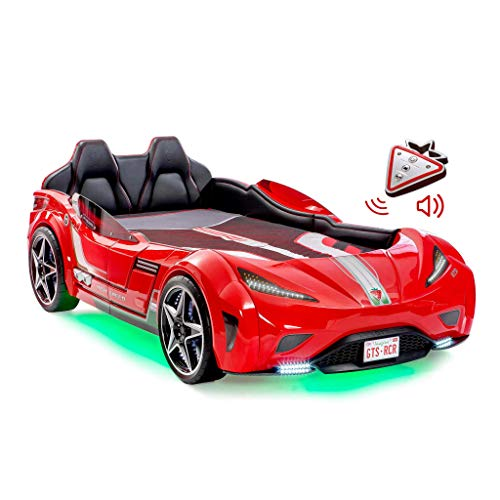 Cilek Twin Size Kids Race Car Bed Frame Remote Controlled, LED Headlights, Engine Sound, Upholstered Headboard, Interior Padding, License Plate, Red