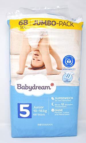 babydream Windeln Junior Jumbo-Pack 68 Stück Größe 5, 10-16 kg, bis zu 12 Stunden Trockenheit