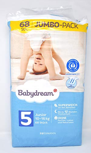 Babydream Nappies Junior Jumbo Pack 68per pack UK Size 5, 12-25kg, Sleep Well Fine Nappy for ease of movement Day & Night Safe, Silky-Smooth Finish