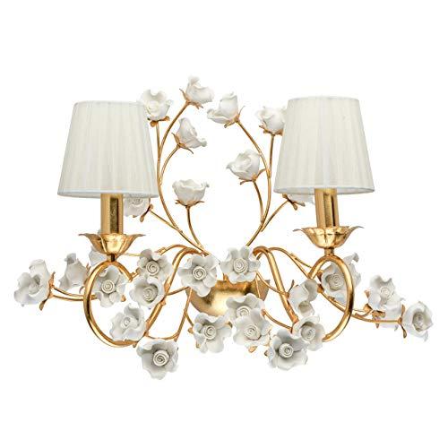 Chiaro 282022102 Flora - Lámpara de pared (estructura de metal, 2 bombillas de 40 W, E14), color beige y dorado