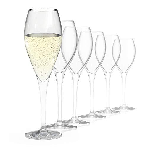 SAHM Champagner Gläser (6 STK)   Champagnerflöten a 220 ml   Ideal auch als Sektflöten & Sektgläser 6er Set