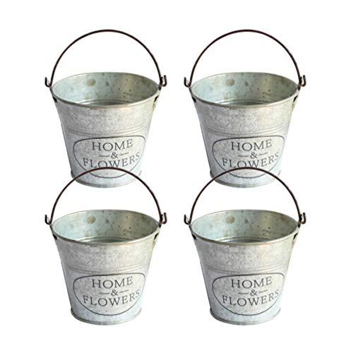 Upkoch - Juego de 4 mini cubos de metal para suculentos, cactus vintage, cubos de hierro, cubo para flores, cubos de metal, para boda, minicubo para decoración de jardín