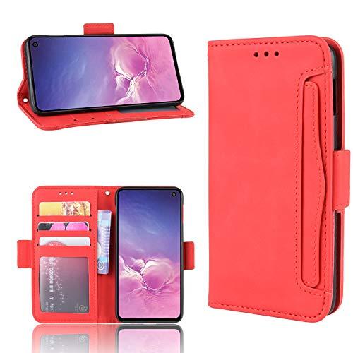 LODROC Galaxy S10e Hülle, TPU Lederhülle Magnetische Schutzhülle [Kartenfach] [Standfunktion], Stoßfeste Tasche Kompatibel für Samsung Galaxy S10e/G970F - LOBYU0200306 Rot