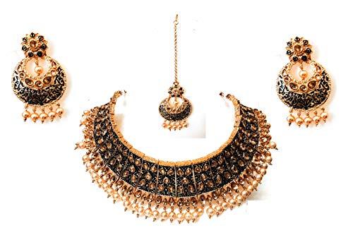 Indian Designer Gold Plated Ethnic Traditional Bollywood Bridal Kundan CZ Stone Meenakari Wedding Choker Necklace Jewelry Set Blue