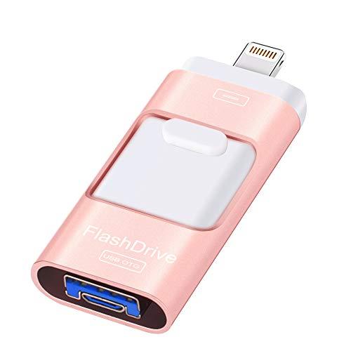 Clé USB 128 Go, clé de mémoire Flash Drive USB de stockage compatible avec iPhone/iPad/Android/iOS et autres appareils de sauvegarde (128 Go)