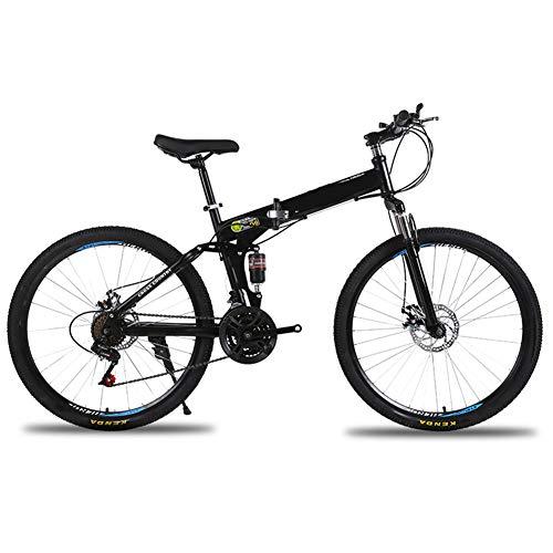 LYzpf MTB Mountainbike Faltbares Fahrrad 26 Zoll 21 Geschwindigkeiten Legierung Stärkerer Scheibenbremse Stadler Bike Für Erwachsene Mann Frau Student,Black-1,24inch-24S