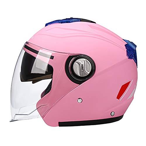 perfeclan Cascos Abatibles para Motocicletas Casco Protector Solar de Doble Visera Casco Integral - Rosado