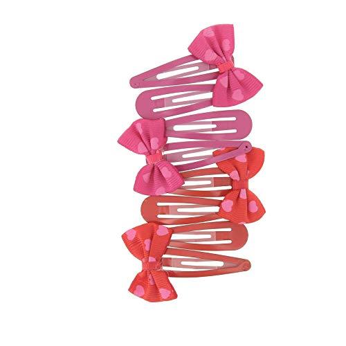 Lote de 8 clics clac (4 pares) de metal – lazo de tela – rojo/violeta – Accesorio para el cabello