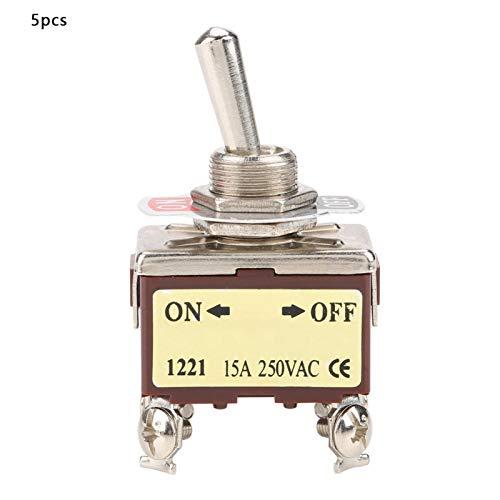 Interruptor - 5 piezas ON-OFF Interruptor de palanca de 2 posiciones 4 pines 12 mm Montaje 15A 250VAC