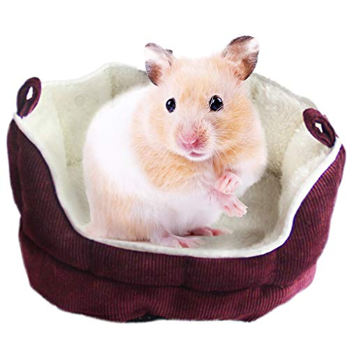 Meric Cuddle Cup for Small Animals, with Removable Cushion, Soft & Comfy Fleece Lined Cotton Bedding, for a Cozy, Comfortable Sleep, Plush Habitat Nest for Gerbils, Baby Guinea Pig & Hamsters