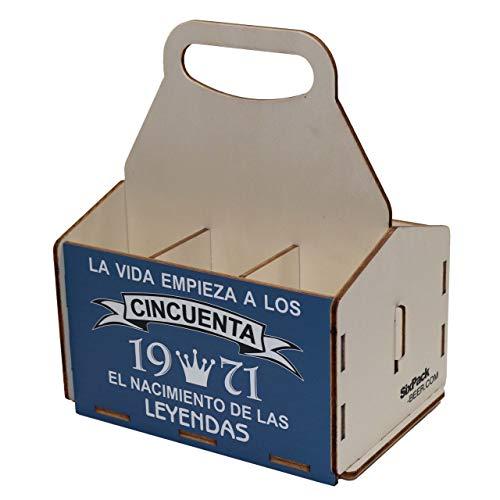 Portacervezas de madera, paquete de seis cervezas, caja portadora de seis, portacervezas de seis, regalo cerveza, cumpleaños 50 años, regalo 50 años, de madera, 50 cumpleaños, cumpleaños hombre, 1971