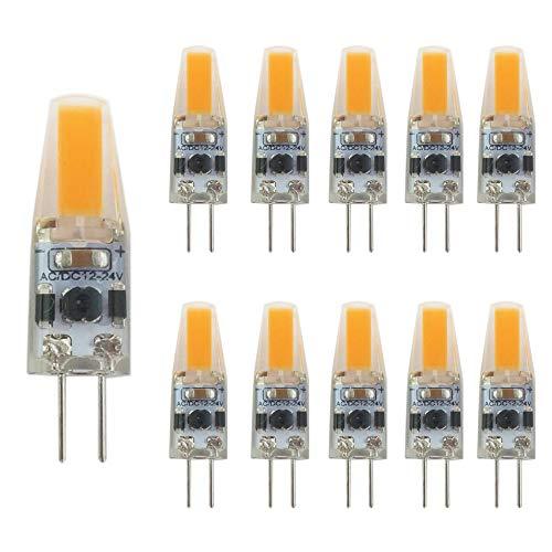 G4 LED Dimmbare, SidiOutil 10Stk. G4 LED Glühbirnen,12-24V 3000K Warmbeleuchtung Dimmbare Landschafts-LED-Birne 3W Entspricht 30W T3 Halogen-Schienenbirnenersatz G4 Bi-Pin Sockellampe