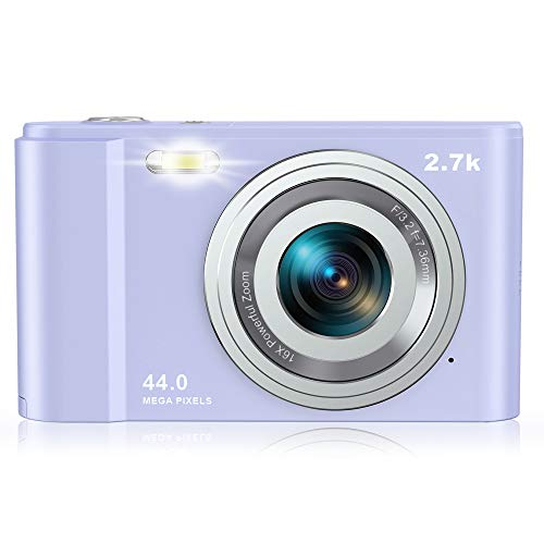 Rosdeca デジタルカメラ デジカメ コンパクト HDカメラ 2.7K 44MP 16倍ズーム 連写機能 軽量 携帯便利 2.88インチIPS画面 ミニカメラ キッズ 学生 撮影初心者に適用