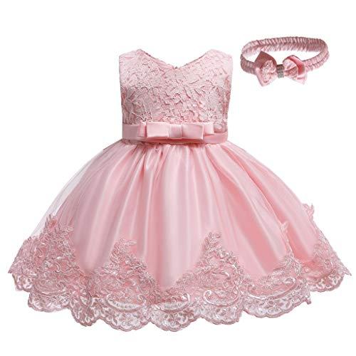 Kobay Mädchen Sommer interessant Muster Baby Mädchen Spitze Bowknot Prinzessin Hochzeit Formal Tutu Kleid + Stirnband Set Kleidung