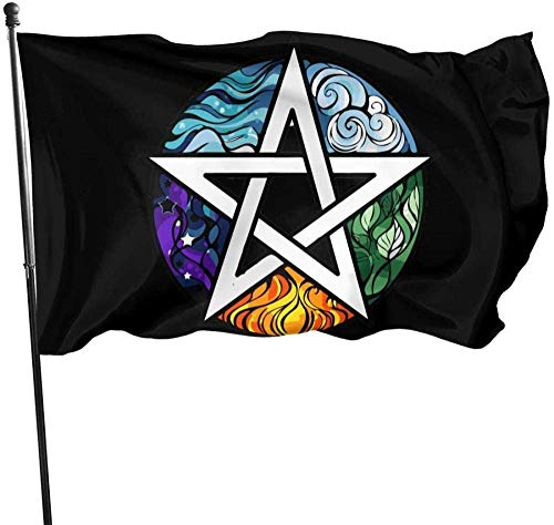 maichengxuan Bandera de Jardín,Earth 5 Five Elements Wicca Wiccan Magic Themed Welcome Party Outdoor Outside Decorations Ornament Picks Home House Garden Yard Decor 3 X 5 Ft Small Bandera