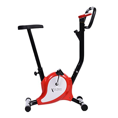Tomasa Sport Cyclette Trainer da Casa Pieghevole con Maniglie Sensori delle Pulsazioni LED display Rosso
