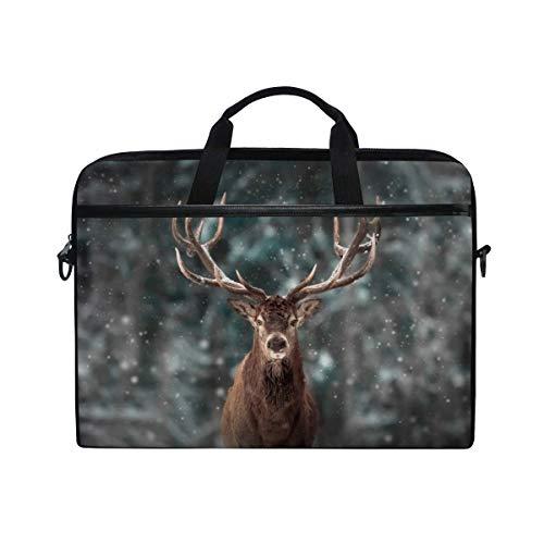 Merry Christmas Forest Deer 14 Inch Laptop Case Shoulder Bag Crossbody Briefcase Messenger Sleeve With Shoulder Strap Handle